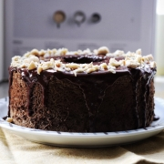 Mount Glorious - Hojicha Chiffon Cake with Hazelnut Dark Chocolate Whiskey Ganache