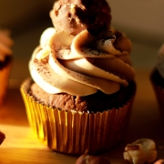Golden Haze - Ferrero Rocher Cupcake with Nutella Swiss Buttercream Frosting