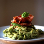 Creamy Avocado Pesto Pasta with Crispy Prosciutto
