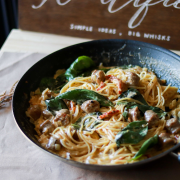 Sundried-tomato Basil Sausage Pasta in White Wine Cream Sauce