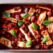 Greek-Inspired Halloumi Lamb Sausage Tomato Stew