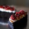 Mini Chocolate Cake with Italian Meringue, Raspberry, and Shaved Chocolate
