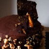 Chocolate Mud Cake with Chocolate Shards, Honey Comb and Salted Caramel Popcorn