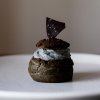 Charcoal Dark Chocolate Cream Puff with Black Sesame Chantilly Cream and Tofu Creme Patissiere